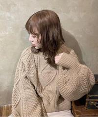 ケーブルショートニット(beige)
