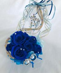【プリザーブドフラワー/ガラスの靴リングピロー】青い薔薇と金色のリボンに幸せをのせて【リボンラッピング付き】