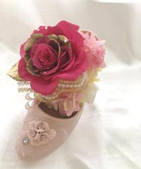 【プリザーブドフラワー魔法のピンクの薔薇フラワーシューズ】フラワーケースリボンラッピング付き