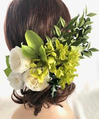 ヘッドドレス/プリザーブドフラワー紫陽花と白薔薇とグリーンの髪飾りヘッドドレスパーツ