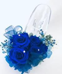 【プリザーブドフラワー/青い薔薇のガラスの靴】【リボンラッピング付き】