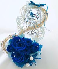 【プリザーブドフラワー/青い薔薇の夜空に染まったガラスの靴】リングピロー使用もOK【リボンラッピング付き】