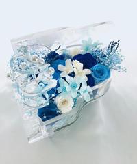 【プリザーブドフラワー/グランドピアノシリーズ】青とブルーと小花の透明感のある音色