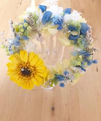 【プリザーブドフラワー紫陽花とガーベラのリース花たちの丸い輪の永遠の祝福】
