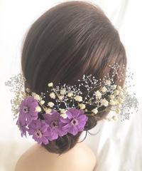 【ヘッドドレス/髪飾りプリザーブドフラワー/ウェディング・前撮り和装】ラベンダージニア