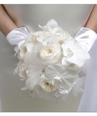 プリザーブドフラワーウェディングブーケ天使の祝福 純白の胡蝶蘭使用 髪飾りとブートニア付き