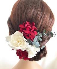 【ヘッドドレス/髪飾りプリザーブドフラワー/前撮り和装】くちなしの花