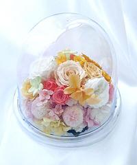 【プリザーブドフラワー/花爛漫にドームの中で咲く魔法の花】フラワードームギフトボックスリボンラッピング付き