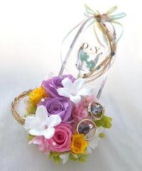 【プリザーブドフラワー/ガラスの靴リングピロー/ウェディング】プリンセスの金色の髪の魔法と自由と幸せ