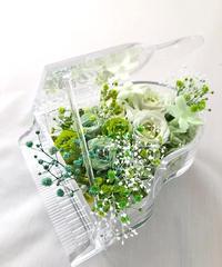 【プリザーブドフラワー/グランドピアノシリーズ】フレッシュグリーンのお花たちの妖精の安らぎの音色【リボンラッピング付き 送料無料】
