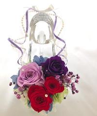 【プリザーブドフラワー/ガラスの靴シリーズ】パープルとルビー色の美しい魔法の時間【フラワーケースリボンラッピング付き】