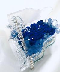 【プリザーブドフラワーピアノシリーズ】青い薔薇の神秘と奇跡の音色/フラワーケースリボンラッピング付き