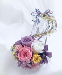 【プリザーブドフラワー/ガラスの靴ミニシリーズ】パープルドレスのプリンセスの金色の髪の魔法
