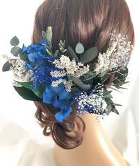 【ヘッドドレス/髪飾りプリザーブドフラワー/ウェディング・前撮り和装】グリーンと青と白いお花のサムシングブルー