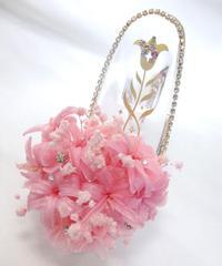 【プリザーブドフラワー/ガラスの靴シリーズ】ピンクのチューベローズと金色の百合とクリスタルの輝きの美学