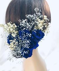 【ヘッドドレス/髪飾りプリザーブドフラワー/ウェディング・前撮り和装】青の薔薇