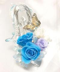 【プリザーブドフラワー/ガラスの靴シリーズ】シンデレラのブルードレスの魔法の時間【フラワーケースリボンラッピング付き】