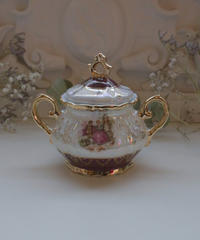 VTG gold rim aurora sugar pot