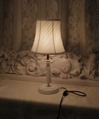white shabby shade lamp