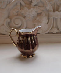 VTG   aurora burgundy milk pot & sugar pot