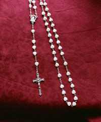 white  heart beads rosary