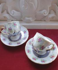 VTG aurora blue bouquet tea cup