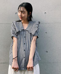<NA-2212230> フリルカラーギンガムチェックシャツ