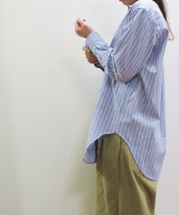 《SALE!》doux bleu ストライプノーカラーシャツ