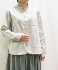 【2019秋】YARRA 綿麻スタンドカラーシャツ チェック