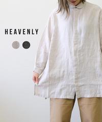 HEAVENLY/ LINEN STRIPE FLYFRONT SHIRT