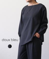 doux bleu/ ヘリンボンアシンメトリーブラウス