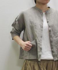 【2019SS新作】[大人のおしゃれ手帖掲載] YARRA リネンノーカラーシャツジャケット