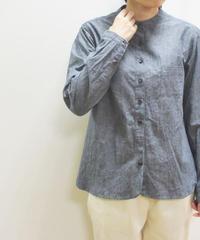 【2019秋】YARRA 綿麻スタンドカラーシャツ 無地