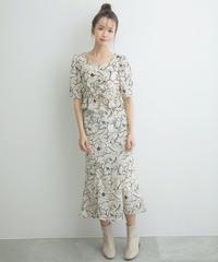 AR212SK0402 ラインフラワーマーメイドスカート