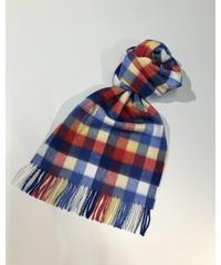 [Joshua Ellis] CP50110/scarf Modern Tartan v checks (madras check white x red x blue)