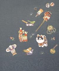 染め名古屋帯「玩具」(税込み・仕立て代込み)  3-008