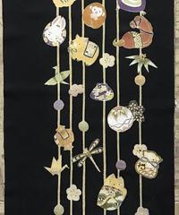 染め名古屋帯「モダン十二支の吊るし雛」(仕立て代、送料込み)   3-002