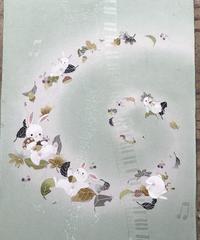 染め名古屋帯「風と戯れて」(仕立て代、送料込み) 4-001