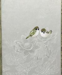染め名古屋帯「気ままなお散歩」(仕立て代、送料込み)    4-006