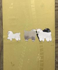 染め名古屋帯「子羊のお散歩」(仕立て代、送料込み)  4-025