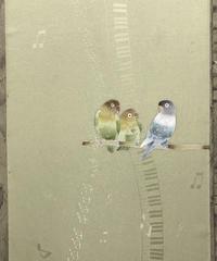 染め名古屋帯「Love bird」(仕立て代、送料込み) 4-005