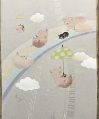 染め名古屋帯「Over the rainbow・ 虹の彼方に」(仕立て代、送料込み) 4-024