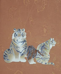 染め名古屋帯「虎。王者の休息」(税込み・仕立て代込み)   4-052