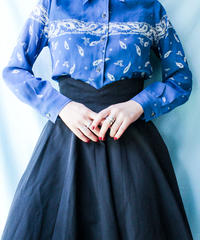 【tiny yearn】Feather Blue Sheer Blouse