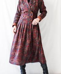 【Seek nur】Dark Paisley Double Button Dress