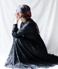 【Seek nur】Made in turkey Black Lace Long Dress