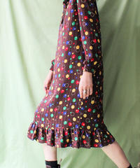 【tiny yearn】Ruffle collar Multi Dot Dress