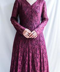 【Seek nur】 Bordeaux Lace Long Dress