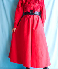 【tiny yearn】Fringe Design Flare Red Dress