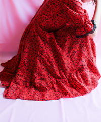 【tiny yearn】Red×black Flower Flare Dress